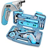 Hi Spec 35 Piece Home DIY Tool Kit with USB Rechargeable Electric <span class='highlight'>Power</span> Screwdriver. <span class='highlight'>Hand</span> <span class='highlight'>Tools</span> & 40 Piece Wall Picture Hanging Kit for Household Repair in a Carry Case - Blue