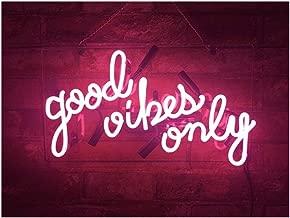 Realwell Pink Good Vibes Only Neon Sign Room Decor Real Glass Bar Handmade Night Light Gift 14