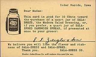 Vintage Advertising Postcard: Sala-Dress and Sala-Spread Advertising