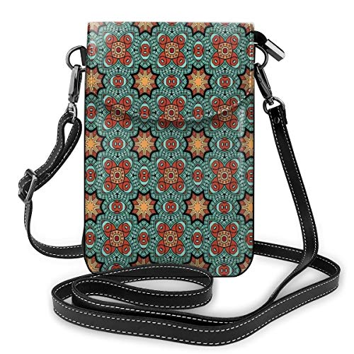 Women Mini Purse Crossbody of Cell Phone,Hand Drawn Lace Design Blooming Foliage with Retro Inspirations Ethnic Pattern