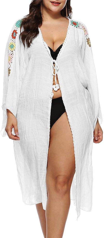 Beach Cover Ups Women Summer Beachwear Crochet Floral Bathing Suit Beach Dress Bikini Swimsuit Cover Up Long Sleeve Swimwear Open Front Long Kimono Cardigan Dress (color   White, Size   One Size)