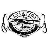 Cómodo diseño de sello impreso, avión vintage, diseño de sello de estilo grunge con silueta de avión y aviación, blanco y negro, decoración facial resistente al viento para adultos Tamaño: M