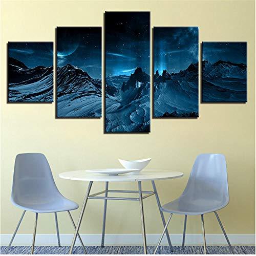 Newberli Pintura Sobre Lienzo Arte De La Pared Decoración Para El Hogar 5 Piezas Azul Aurora Boreal Nieve Montaña Moderno Hd Impreso Escena Nocturna Imágenes