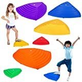 IROO 8PCS Balance Stepping Stones Set for Kids Play Indoor and Outdoor, Non-Slip Colorful Stones Toys for Coordination and Gross Motor Development, Unique Birthday