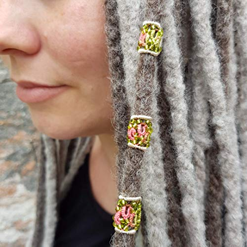 2 x Dreadperle, Dreadschmuck, Dreadbeads, Ø 6 mm Haarschmuck für Dreadlocks, Festival, Goa, Hippie, Boho