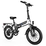 G-Force Electric Bike T12,Electric Bikes for Adults 20'' Folding Ebike,350W Motor,Max Speed 20MPH Adults Ebike with Removable Battery(48V 10.4A),Max Range 30Miles.