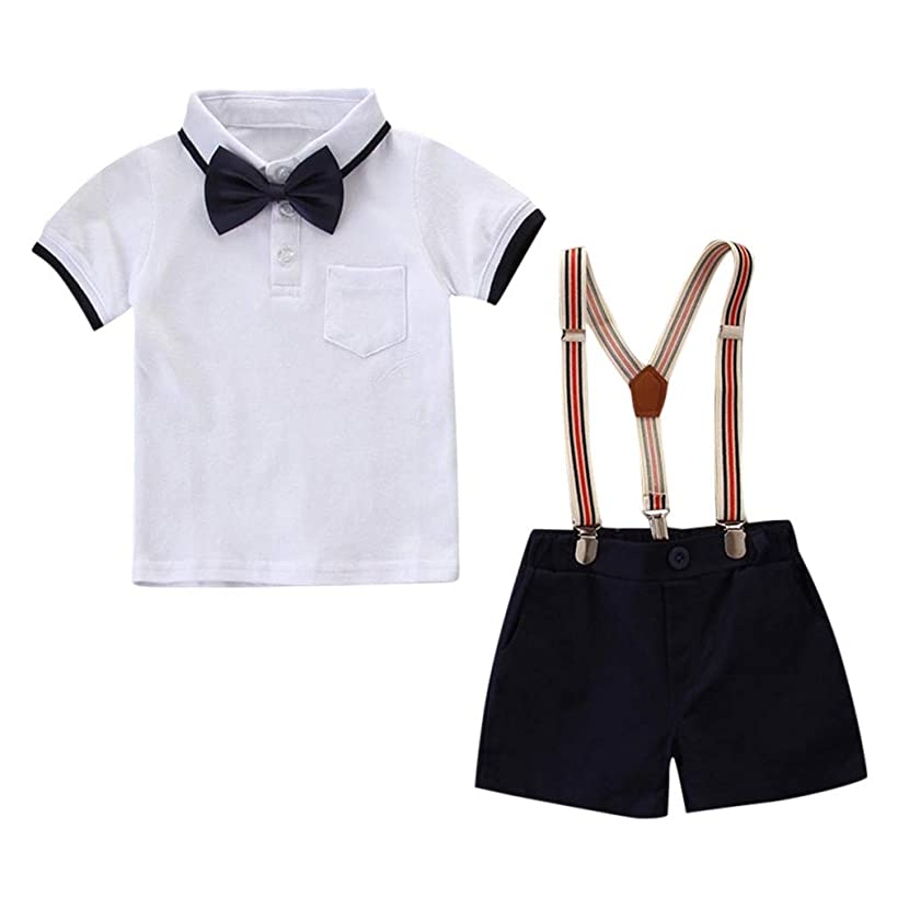 SIN vimklo Baby Boy Casual Summer Button Outfit Set Bow Tie Shirt Shorts Gentleman Party Suit