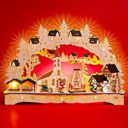 Sikora LB70 illuminated LED wood candle arch CHRISTMAS VILLAGE including transformer
