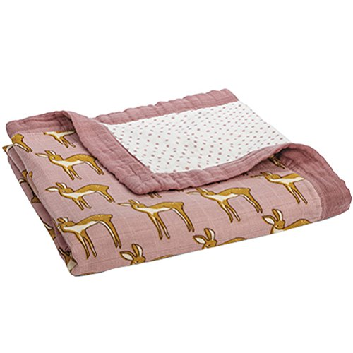 "Milkbarn Bamboo and Cotton Big Lovey Baby Blanket ""Rose Doe"""