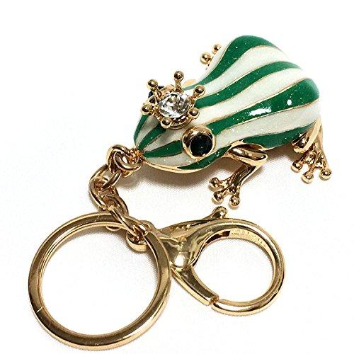 EQLEF Frosch Schlüsselanhänger,kreativer grüner Froschkönig Schlüsselanhänger mit weißen Streifen und Strass