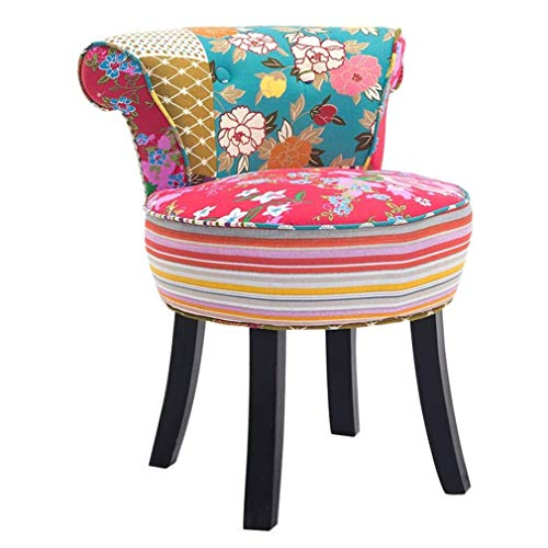 ZDDY European Style Vanity Benches Makeup Stool Backrest Dressing Chair Ottomans Piano Chair Cushioned Padded Seat with Solid Wood Legs, 150kg/330 lb Capacity. (Color : Color 5)