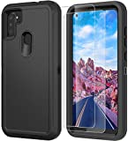 Thinkart Phone Case for Galaxy A11 Case with HD Screen Protector,Drop Protection Full Body Rugged Heavy Duty Case,Shockproof Dust Proof 3-Layer Durable Cover for Samsung Galaxy A11 (Darkblack)