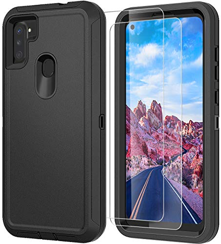 Thinkart Compatible for Samsung Galaxy A11 case Case,Samsung A11 Case with HD Screen Protector [2 Packs],Samsung Galaxy A11 Phone Case Drop Protection Durable 3 in 1 Cover Galaxy A11 Case(Darkblack)