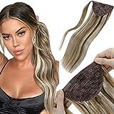 LaaVoo-Extensions Pferdeschwanzhaar Remy Human Hair,Geeignet Für Formelle Anlässe,Brazilian Hair,#P8/60 Light Brown to Platin Blond (22 ZollGramm)