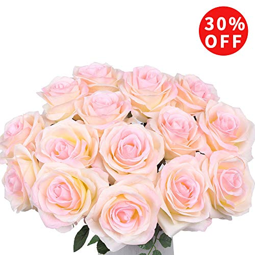 Artificial Flowers AmyHomie Silk Roses Bouquet Home Wedding Decoration Pack of 15
