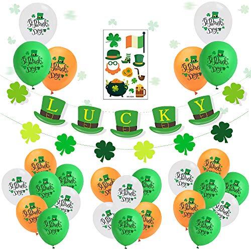 SPECOOL St. Patrick's Day Décorations, Guirlande Porte-Bonheur et Quatre Feuilles Vert Blanc Jaune Ballons en Latex Happy St. Patrick's Day, Irish Articles de fête Décor