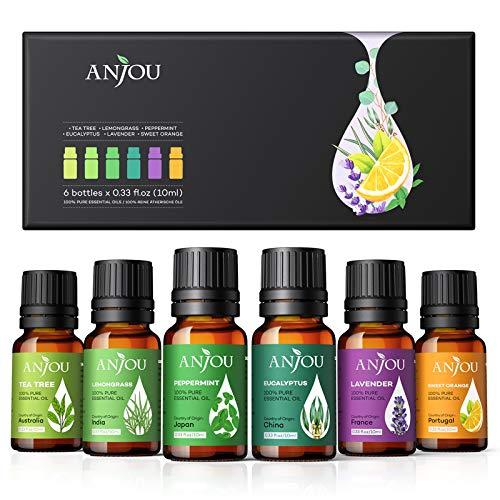 Anjou Essential Oils Gift Set for Diffuser Humidifier, 2020 New Upgraded 100% Pure Therapeutic Grade Oils, Pepermint, Lavender, Tea Tree, Eucalyptus, Lemongrass, Sweet Orange, 6*10ml