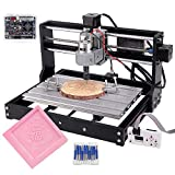 Cenoz Upgrade CNC 3018 Pro GRBL Control DIY CNC Machine,3 Axis PCB PVC Milling Engraving Machine,Wood Router Engraver XYZ Working Area 300x180x45mm (3018-PRO with extension rod)