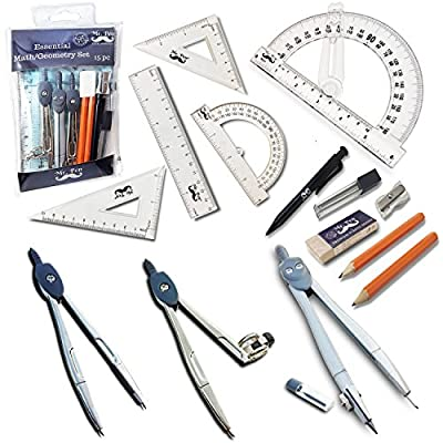 Mr. Pen Geometry Set with 6 Inch Swing Arm Protractor, Divider, Set Squares, Ruler, Compasses and Protractor, 15 Piece Set