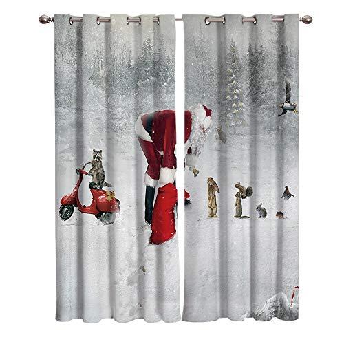 Verdunkelungsvorhang mit Ösen Weihnachtsmann Im Winterwald Vorhänge Blickdicht Gardinen für Zimmer Wärmeschutz & Geräuschreduzierung 2 Stücke, B 110 x H 215cm