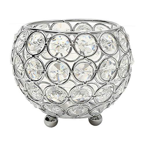 VINCIGANT Portavelas Jarrones de Cristal de Plata para la Decoración de la Candelabros Decorativos Mesa de Centro de la Boda, Decoración navideña 10 cm
