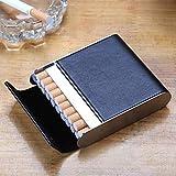 YXZN Leder Zigarettenetui Zigarettenhülle Vintage Portable Wasserdicht Zigarettenschachtel für 20 Zigaretten,Black,9.5X8.2X2.1CM