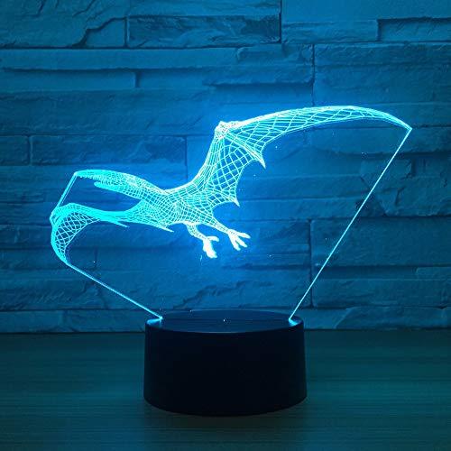 Wfmhra Flying Dinosaur Dragon 3D Lampe USB LED Lampe Tier Flugsaurier Flügel Tisch Nachtlicht Kinder Geburtstagsgeschenk Beleuchtung
