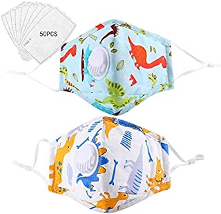 2 PCS Kids' Ma*s//k Baby Reusable Dustproof P.M.0.2.5 Pollution C0ver with 50 PCS Pr0tective F!lter Activated Carbon 5 Lay...