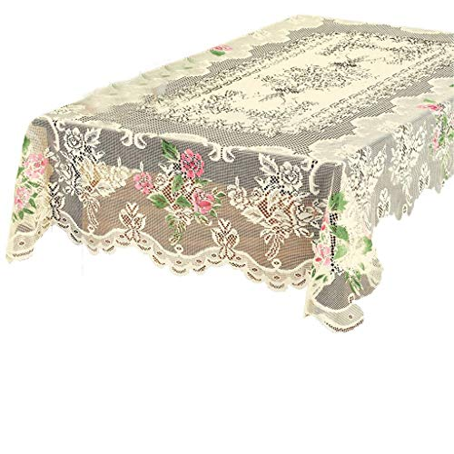 Masrin Spitzen Tischdecke rund weiß in Hand Floral Rose Cover Elegante Esstisch (152 x 228 cm, Weiß)