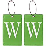 2 Pack Initial Luggage Tag Green by Gostwo Fully Bendable Tags Stainless Steel Loop (W)