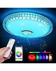 LED taklampa med Bluetooth-högtalare, Zorara 36 W LED taklampa färgförändring med fjärrkontroll, RGB musik taklampa dimbar med app kontroll 3000–6500 K för kök vardagsrum barnrum