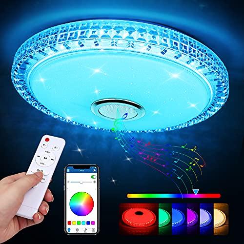 Lámpara LED Techo, Zorara 60W Plafon LED Techo con Altavoz Bluetooth Regulable RGB, Lampara Techo Habitacion LED con Control Remoto y APP, Plafon Cocina 3000-6500K para Baño Dormitorio Sala de Estar