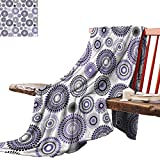 Couch Blanket House Decor Collection,Abstract Medallion Pattern and Round Shape with Leaves Balls Floral Design Print,Lilac Black Gray Winter Luxury Plush Microfiber Fabric 60'x70'