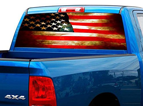 P470 Distressed American Tint Rear Window Decal Wrap Graphic Perforated See Through Universal Size 65' x 17' FITS: Pickup Trucks F150 F250 Silverado Sierra Ram Tundra Ranger Colorado Tacoma 1500 2500