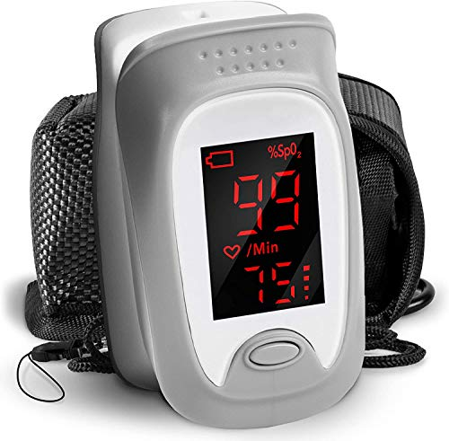 Duronic OX01R Pulsioxímetro de dedo - Oxímetro de pulso calcula saturación del oxígeno y frecuencia del pulso - Pantalla digital - Cordón y bolsa de transporte