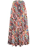 Pretchic Women's Blossom Floral Chiffon Maxi Long Skirt Red1 XX-Large
