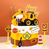 19Pcs Construction Truck Birthday Cake Decoration, Construction Party Truck Car Cone Table Topper Decoration Zone Birthday Party Supplies.