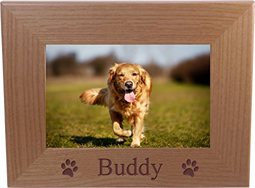 Custom Dog - Engraved Natural Alder Wood Hanging/Tabletop Personalized Picture Memory Family Memorial Photo Frame (4x6-inch Horizontal)