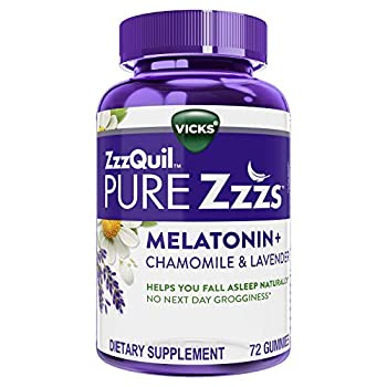 ZzzQuil Pure Zzzs Melatonin Sleep Aid Gummies with Lavender Valerian Root and Chamomile Natural Wildberry Vanilla Flavor Non-Habit Forming Drug-Free 72 Gummies