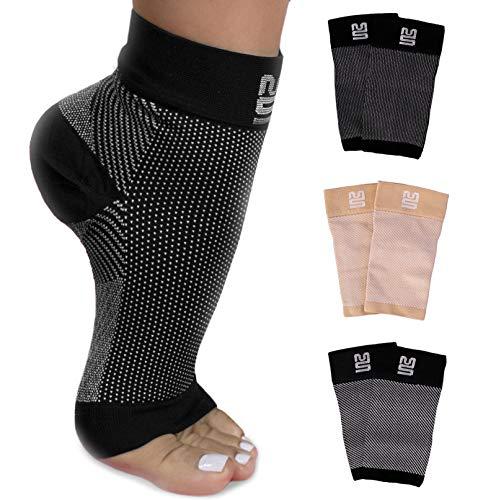 Premium Kompressionssocken lindern Fersensporn, Plantarfasciitis und Fuß Schmerzen - Fersensporn Bandagen - Fersensporn Socken (2 Paar, EU 36 – 40, Schwarz)