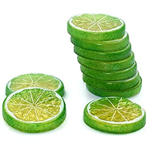 Hagao Fake Lemon Slice Artificial Fruit Highly Simulation Lifelike Model for Home Party Decoration Green 10 pcs