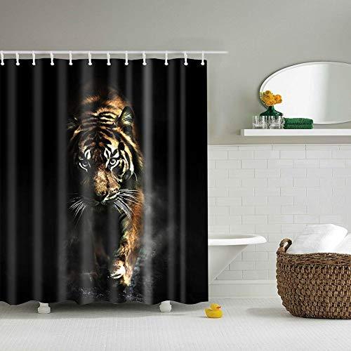 Boyouth Duschvorhänge mit Tiger-Motiv, Digitaldruck, schwarz, für Badezimmer, Dekoration, Polyester, wasserdichter Stoff, mit 12 Haken, 178 x 178 cm, mehrfarbig