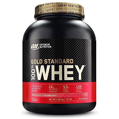 Optimum Nutrition ON Gold Standard 100% Whey Proteína en Polvo Suplementos Deportivos, Glutamina y Aminoacidos, BCAA, Fresa Deliciosa, 76 Porciones, 2.28 kg, Embalaje Puede Variar