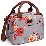 Lunch Bag for Women,Kaome Floral Lunch Bag with Shoulder Strap, Durable Leakproof Picnic Box, Fashion Lunch Bag for Women Double Zippers Wide Open Lunch Container Bag for Work School Outdoor