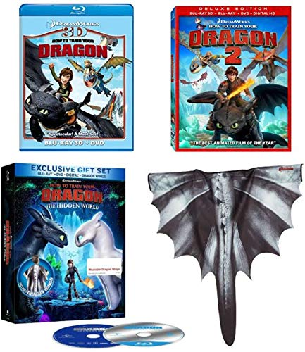 HTTYD Trilogy: How to Train Your Dragon [Blu-ray 3D + DVD]/How to Train Your Dragon 2 [Blu-ray 3D + Blu-ray + DVD]/How to Train Your Dragon 3: The Hidden World [Blu-ray + DVD} w/ Wearable Dragon Wings