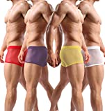 Men's Boxers Sexy Underwear Mesh Breathable Gay Low Rise Boxer Briefs(36Hong,XL)