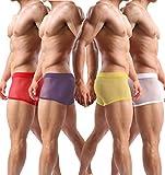 Men's Boxer Briefs Soft Underwear Mesh Breathable Gay Low Rise Boxers(36Hong,L)