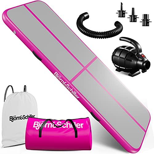Premium Aufblasbare Turnmatte Airtrack 3m, Pink Tumbling Matten mit elektrischer Pumpe für zu Hause Tumble Track Air Matte für Training,Airblock für Airsport,Luftmatte für Wasser,Air Track Matte