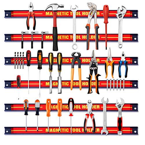 Giantex 6X Magnetleiste Set, 46 cm Magnet Werkzeugleiste Werkzeughalter Werkzeug Halterung, Magnetische Werkzeughalter Leiste Magnetschiene 10kg Tragkraft