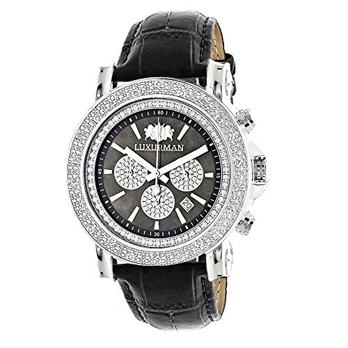 Large Mens Diamond Watch with Black Leather Band Escalade 0.25ctw of Diamonds by Luxurman